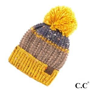 C.C HAT-2214 Seed stitched confetti beanie with pom  - One size fits most  - 100% Acrylic