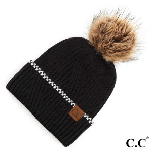 C.C YJ-920  Solid Knit Faux Fur Pom Beanie Featuring Cuff Accent.  - One size fits most  - 100% Acrylic