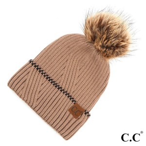 C.C YJ-920  Solid pom beanie with accented cuff  - One size fits most - 100% Acrylic