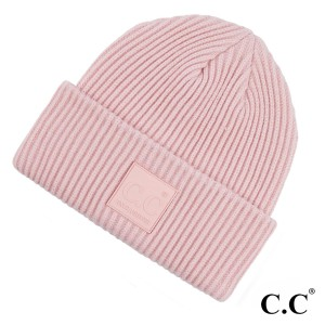 C.C HAT-7007  Solid Ribbed Knit Cuff Beanie Featuring C.C Rubber Patch  - 50% Viscose, 30% Polyester, 20% Nylon - One size fits most