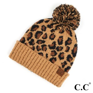 C.C HAT-7001  Leopard Jacquard Knit Pom Beanie.  - One size fits mot - 100% Polyester - Matches C.C HW-7001, SF-7001 and CG-7001