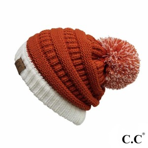 C.C HAT-56 Two Tone Game Day Pom Beanie.  - One size fits most - 100% Acrylic