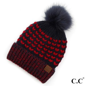 C.C HAT-2381 Two tone heart knit faux fur pom beanie  - 100% Acrylic - One size fits most