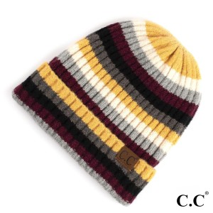 C.C HAT-7013 Multicolor stripe ribbed knit beanie with cuff  - 75% Acrylic, 22% Nylon, 3% Spandex - One size fits most