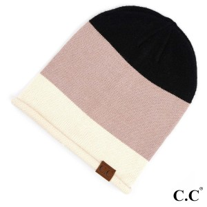 C.C HAT-7005 Colorblock Slouchy Beanie with Rolled Cuff  - One size fits most - 50% Viscose, 30% Polyester, 20% Nylon