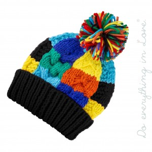 Do everything in Love brand chunky color block knitted pom beanie.  - One size fits most  - 100% Acrylic