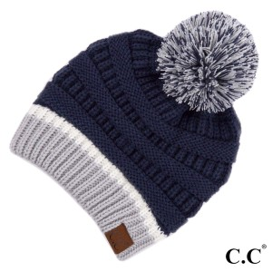 C.C HAT-1429 Game Day Knit Pom Beanie  - One size fits most  - 100% Acrylic