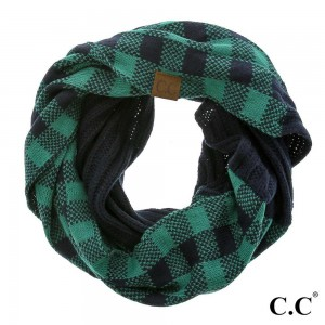 """C.C SF-82 Buffalo check knitted infinity scarf  - Approximately 14.5"""" W x 58"""" L - 100% Acrylic - Matches HAT-82 and MT-82"""