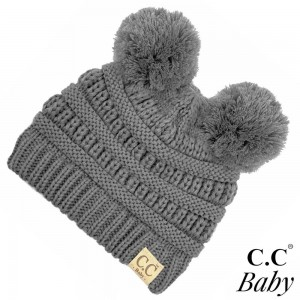 "C.C BABY-23 Solid knit baby beanie with pom pom  - 100% Acrylic - Band circumference is approximately: 9"" unstretched 17"" stretched - Approximately 6.5"" long from crown to band - Fit varies based on child's head height and shape"