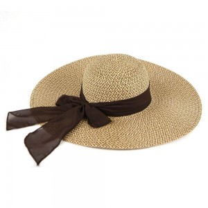 """Two tone mixed sheer bow wide brim floppy sun hat.  - One size fits most adults - Adjustable inside opening drawstring - 100% Paper Straw - Height approximately 5""""  - Brim Width 5.5"""" - Inside head circumference 15"""""""