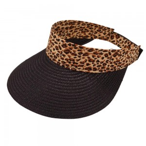 """Women's leopard print straw sun visor.  - One size fits most  - Height 4"""" T - Brim Width 4"""" - Inside head circumference approximately 14""""  - Adjustable velcro closure - 55% Paper, 45% Polyester"""
