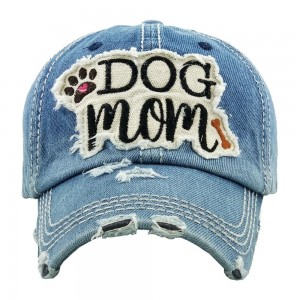 """Vintage Distressed """"Dog Mom"""" Embroidered Baseball Cap.  - One size fits most  - Adjustable velcro closure - 100% Cotton"""
