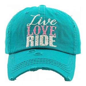 "Rhinestone ""Live Love Ride"" embroidered vintage distressed baseball cap.  - One size fits most - Adjustable velcro closure - 100% Cotton"