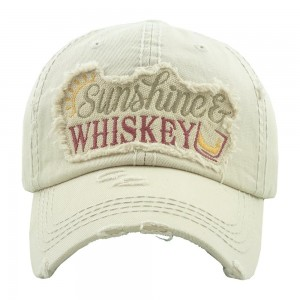 """Sunshine & Whiskey"" embroidered vintage distressed baseball cap.  - One size fits most  - Adjustable velcro closure - 100% Cotton"
