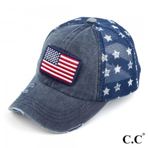 C.C BA-920 USA flag distressed vintage baseball cap with mesh back  - One size fits most - 60% Cotton 40% Polyester - Adjustable velcro closure - One size fits most