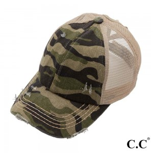 C.C Pony Cap BT-783 Distressed Camouflage Criss Cross Pony Cap with Mesh Back  - Adjustable velcro closure  - Elastic criss cross pony tail opening  - One size fits most - 60% Cotton, 40% Polyester