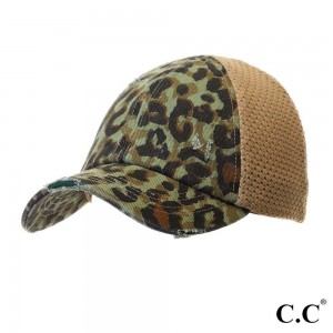 """C.C BT-786 Leopard Print Distressed Baseball Cap with Knit Mesh Back  - 1.5"""" Elastic band - Two way stretch - Ultra lightweight - 60% Cotton / 35% Polyester / 5% Spandex"""
