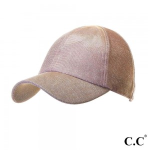 """C.C Sports Cap BT-790 Glitter athleisure pony cap  - 1.5"""" elastic band - Two way stretch - Ultra lightweight - One size fits most - 100% Polyester"""