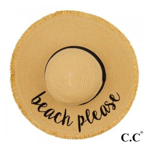 "C.C ST-2025 (Natural) Beach Please paper straw fringe trim wide brim sun hat with ribbon  - One size fits most - Inside adjustable drawstring - Brim width 4.5"" - 100% Paper"