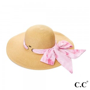 """C.C ST-2026 Paper straw wide brim hat with decorative pull through sash scarf   - UPF 50+ - One size fits most - Inside adjustable drawstring - Brim width 4"""" - 100% Paper"""