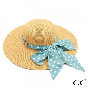 """C.C ST-3020 Paper straw wide brim hat with decorative pull through sash scarf   - UPF 50+ - One size fits most - Inside adjustable drawstring - Brim width 4"""" - 100% Paper"""