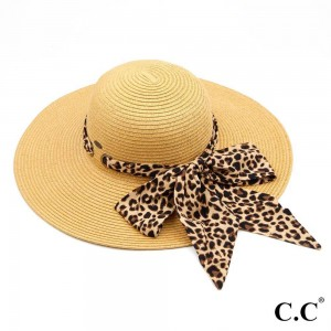 "C.C ST-3018 Leopard print pull through sash scarf paper straw wide brim sun hat  - Pull through sash scarf - Brim approximately 4.5""  - Inside adjustable drawstring - One size fits most  - 100% Paper"