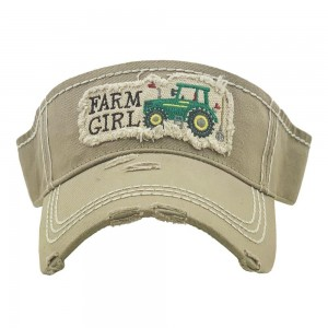 Farm Girl Tractor Embroidered Distressed Sun Visor.  - One size fits most - Adjustable Velcro Closure - 100% Cotton
