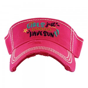 Girls Just Wanna Have Sun Summertime Embroidered Distressed Sun Visor.  - One size fits most - Adjustable Velcro Closure - 100% Cotton