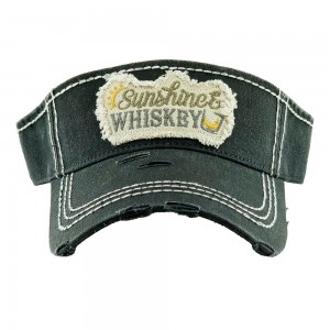 Sunshine & Whiskey Embroidered Distressed Sun Visor.  - One size fits most - Adjustable Velcro Closure - 100% Cotton