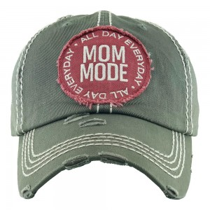 All Day Everyday Mom Mode Embroidered Distressed Baseball Cap.  - One size fits most - Adjustable Velcro Closure - 100% Cotton
