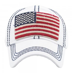 Faded distressed American Flag embroidered baseball cap.  - One size fits most - Adjustable back strap - 100% Cotton