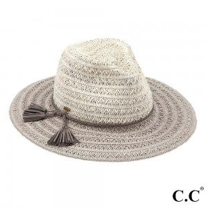 "C.C ST-802  Two tone paper straw wide brim sun hat with faux suede braided tassel band  - One size fits most  - Adjustable inside drawstring - Brim Width 3""  - 80% Paper / 20% Polyester"