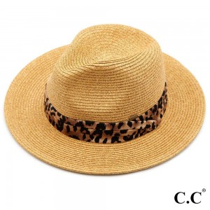 """C.C ST-821 Paper Fedora hat with leopard print band  - One size fits most - Adjustable inside drawstring - Brim Width 2.5"""" - 80% Paper / 20% Polyester"""