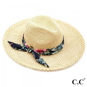 "C.C ST-906 Honeycomb Paper Straw Shape Panama Hat with Tropical Floral Print Ribbon  - Brim approximately 3.75"" - Inside adjustable drawstring - One size fits most - 100% Paper"