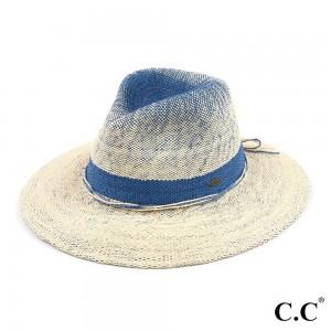 "C.C ST-903 Two Tone Gradient Panama Hat   - One size fits most - Adjustable inside drawstring - Brim Width 3"" - 100% Paper"