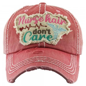 """Nurse Hair Don't Care"" Embroidered Patch Vintage Distressed Baseball Cap.  - One size fits most - Adjustable Velcro Closure - 100% Cotton"
