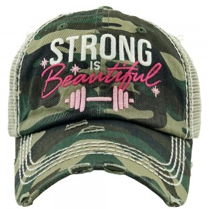 """""""Strong Is Beautiful"""" Embroidered Vintage Distressed Baseball Cap.  - One size fits most  - Mesh Back - Adjustable Velcro Closure - 100% Cotton"""