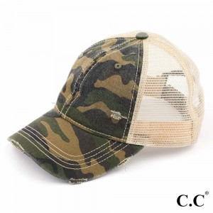 C.C BA-914-#2 Distressed Camouflage Baseball Cap with Mesh Back  - One size fits most - Adjustable Velcro Closure - 70% Cotton / 30% Polyester