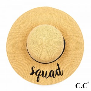 """C.C ST-2017 (Natural) """"Squad"""" paper straw wide brim sun hat with ribbon  - One size fits most - Inside adjustable drawstring - Brim width 4.5"""" - 100% Paper"""