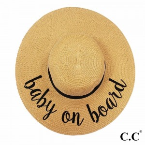 """C.C ST-2017 (Natural) """"Baby on Board"""" paper straw wide brim sun hat with ribbon  - One size fits most - Inside adjustable drawstring - Brim width 4.5"""" - 100% Paper"""