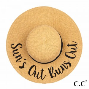 """C.C ST-2017 (Natural) """"Sun's Out Buns Out"""" paper straw wide brim sun hat with ribbon  - One size fits most - Inside adjustable drawstring - Brim width 4.5"""" - 100% Paper"""