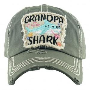 "Vintage Distressed ""Grandpa Shark"" Baseball Cap.  - One size fits most - Adjustable Velcro Closure - 100% Cotton"