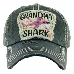 "Vintage Distressed ""Grandma Shark"" Baseball Cap.  - One size fits most - Adjustable Velcro Closure - 100% Cotton"