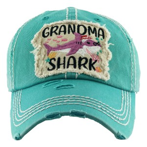 "Vintage Distressed ""Grandma Shark"" Baseball Cap.  - One size fits most - Adjustable Velcro Closure - 100% Cotton"