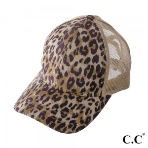 BT-777 Leopard Print Criss Cross Pony Cap with Mesh Back  - One size fits most - Elastic Criss Cross Pony Tail Opening  - Adjustable Velcro Closure - 100% Polyester