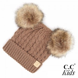 C.C KIDS-2055 Kids Cable Knit Double Faux Fur Pom Beanie.  - One size fits most - 100% Acrylic