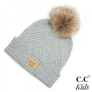 C.C KIDS-2060 Kids Diagonal Stripe Criss-Cross Knit Pom Beanie.  - One size fits most - 47% Rayon / 31% PBT / 22% Nylon