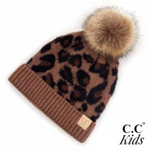 C.C KIDS-2061 Kids Leopard Print Faux Fur Pom Beanie.  - One size fits most - 47% Rayon / 31% PBT / 22% Nylon