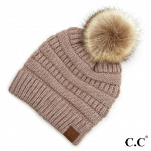 C.C HAT-890-POM Yarn Knit Pom Beanie.  - One size fits most - 47% Rayon / 31% PBT / 22% Nylon