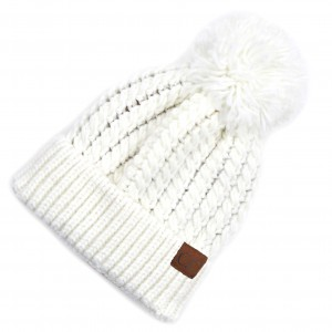 C.C HAT-2054 Twisted Mock Cable Knit Pom Beanie.  - One size fits most  - 100% Acrylic